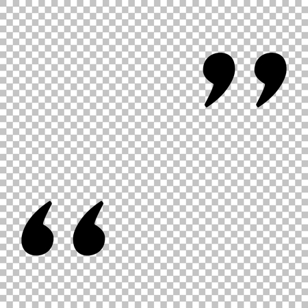 Quote sign. Flat style icon on transparent background