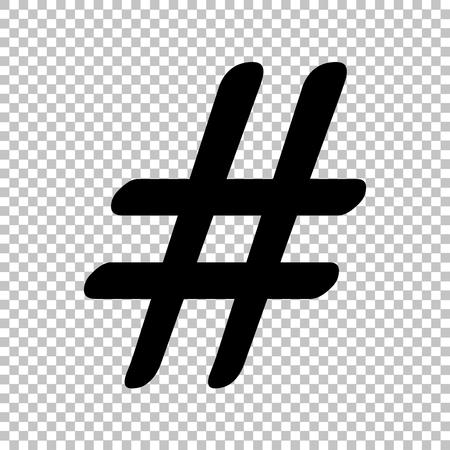 Hashtag sign. Flat style icon on transparent background