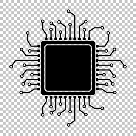 electronic circuit: CPU Microprocesso. Flat style icon on transparent background