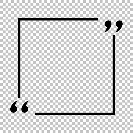 Tekst cytat znak. Ikona stylu płaski na przezroczystym tle