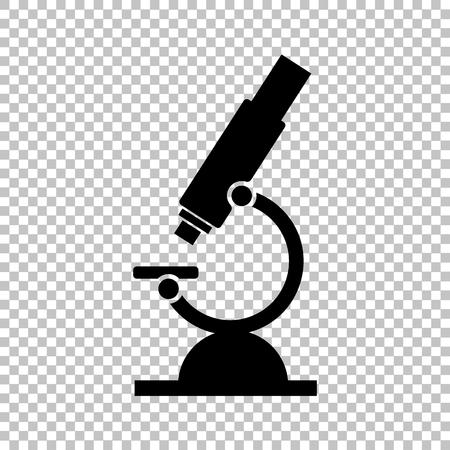 顕微鏡の標識です。透明な背景にフラット スタイル アイコン