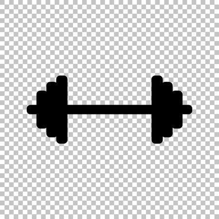 forceful: Dumbbell weights sign. Flat style icon on transparent background