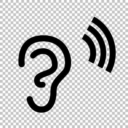 Menselijk oor teken. Flat stijlicoon op transparante achtergrond Stock Illustratie