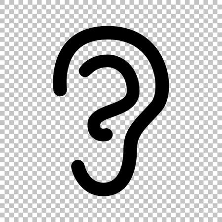 signo oído humano. icono de estilo plano en el fondo transparente Ilustración de vector