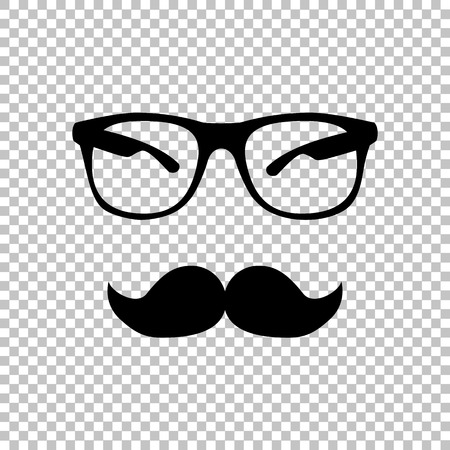 Mustache and Glasses sign. Flat style icon on transparent background