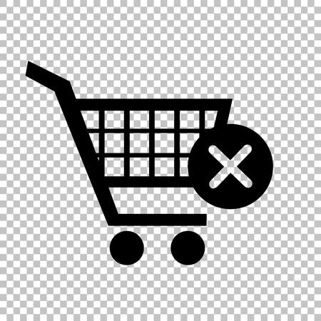 shoppingcart: Shopping Cart and X Mark Icon, delete sign. Flat style icon on transparent background Illustration