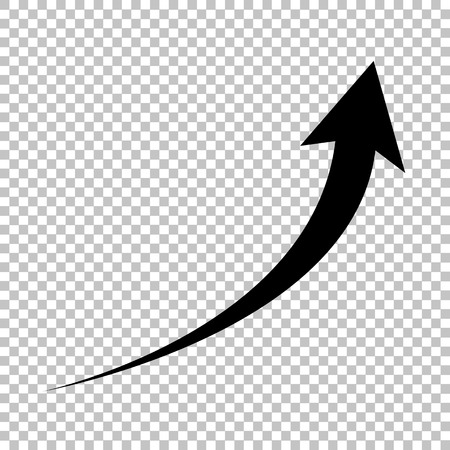 Growing arrow sign. Flat style icon on transparent background