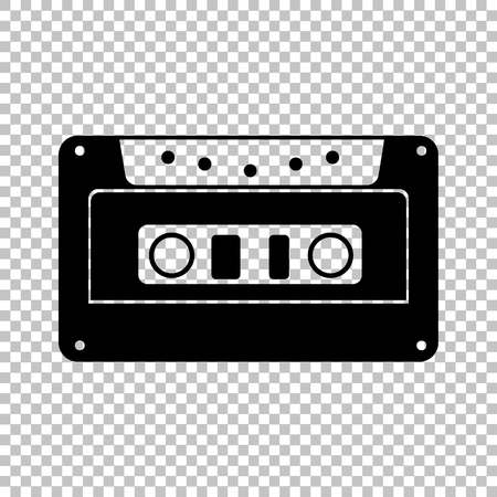 Cassette icon, audio tape sign. Flat style icon on transparent background