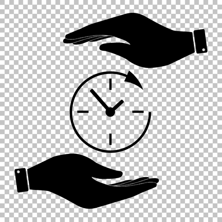 24 hours: Service and support for customers around the clock and 24 hours. Save or protect symbol by hands. Illustration