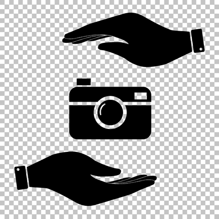 Digital photo camera icon. Save or protect symbol by hands. Illustration