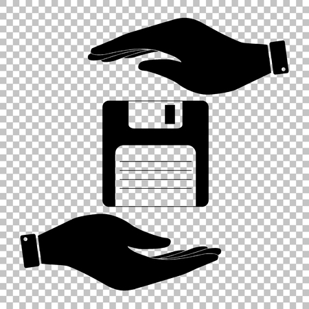 old pc: Floppy disk sign. Save or protect symbol by hands.