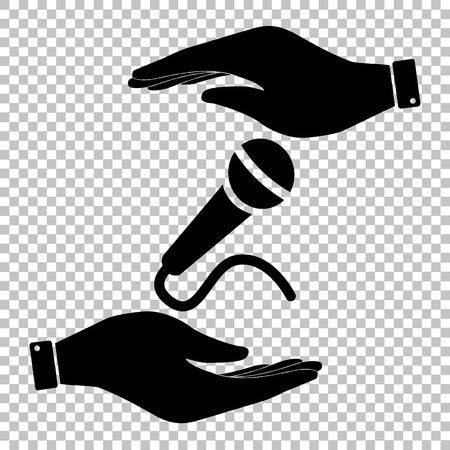 amplify: Microphone sign. Flat style icon vector illustration. Illustration