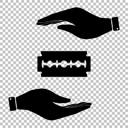 razor blade: Razor blade sign. Flat style icon vector illustration.