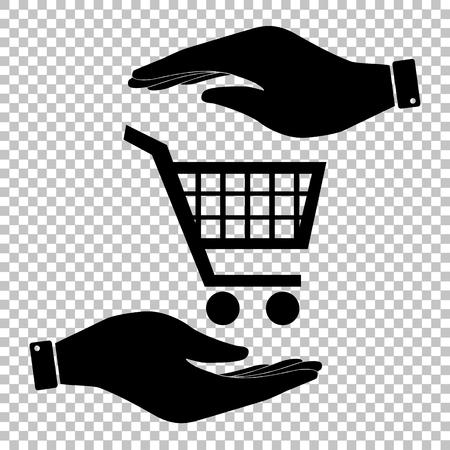 shoppingcart: Shopping cart sign. Flat style icon vector illustration. Illustration