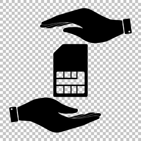prepaid: Sim card sign. Flat style icon vector illustration. Illustration