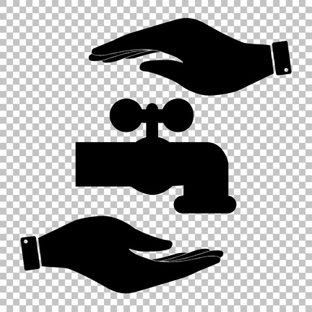 spew: Water faucet sign. Save or protect symbol by hands. Illustration
