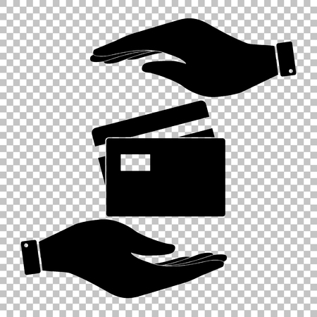 transact: Credit Card sign. Flat style icon vector illustration.