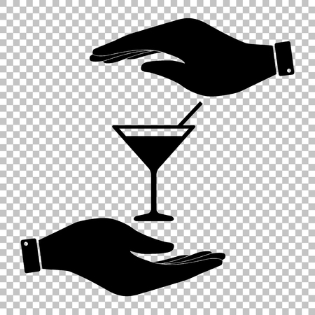 coctail: Coctail sign. Save or protect symbol by hands. Illustration