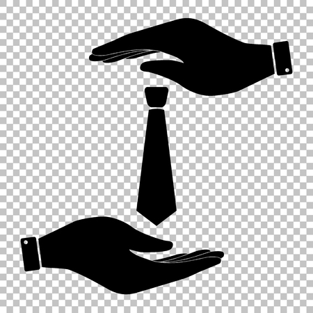 dresscode: Tie sign. Save or protect symbol by hands.