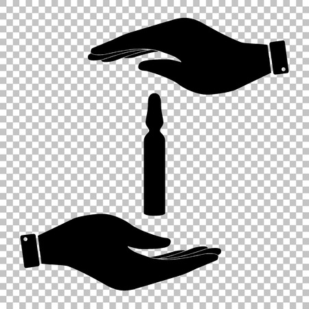 an ampoule: Medical ampoule sign. Flat style icon vector illustration. Illustration