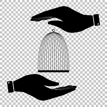 caged: Bird cage sign. Save or protect symbol by hands.