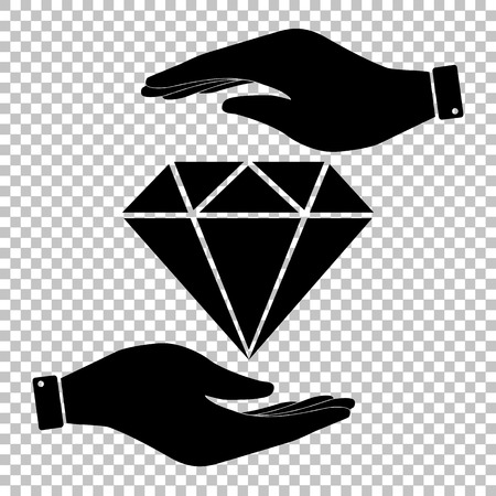 bijou: Diamond sign. Save or protect symbol by hands.