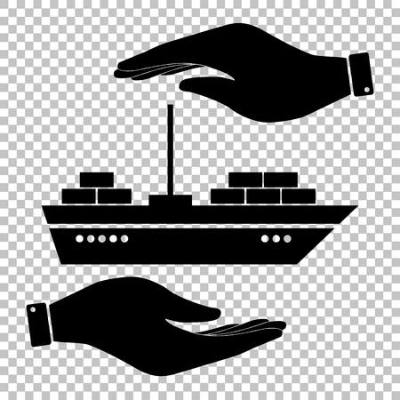 inflate boat: Ship sign. Save or protect symbol by hands. Illustration