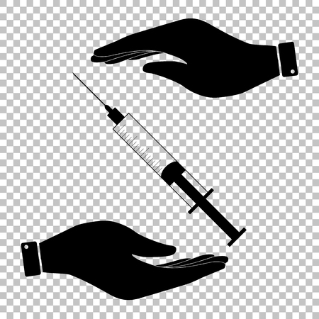 Syringe sign. Save or protect symbol by hands.