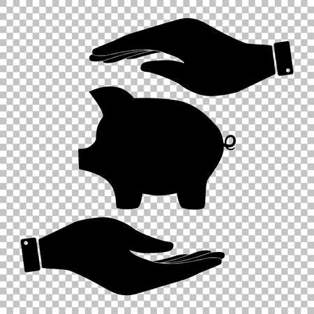 dolar: Pig money bank sign. Save or protect symbol by hands.