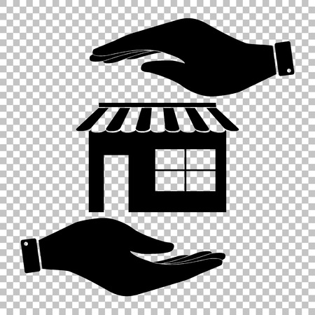 urbanization: Store sign. Save or protect symbol by hands.