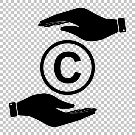 duplication: Copyright sign. Flat style icon vector illustration. Illustration