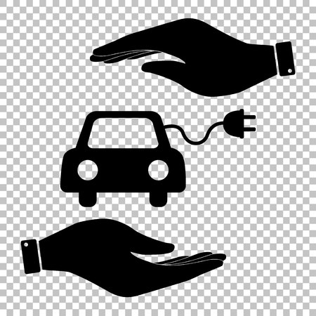 echnology: Eco electrocar sign. Save or protect symbol by hands. Illustration