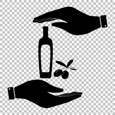 salad dressing: Black olives branch with olive oil bottle sign. Save or protect symbol by hands.