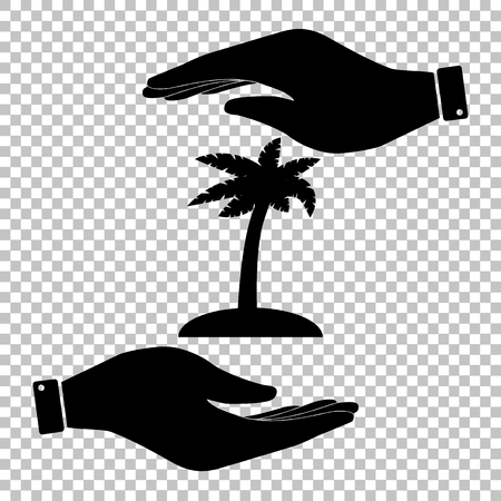 palmtrees: Coconut palm tree sign. Save or protect symbol by hands. Illustration