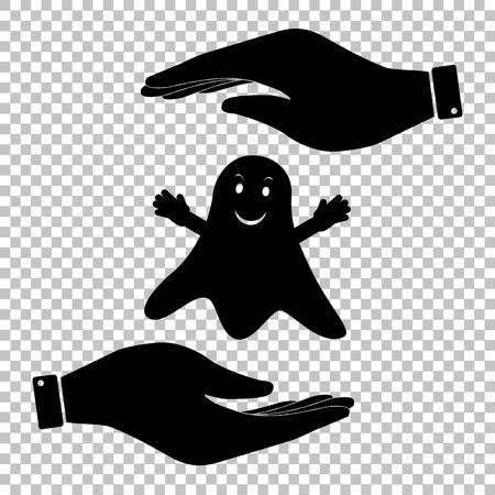 ghastly: Ghost isolated sign. Flat style icon vector illustration.