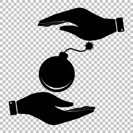 detonate: Bomb sign. Flat style icon vector illustration.