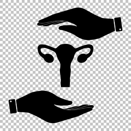 urogenital: Human Body Anatomy. Uterus sign. Flat style icon vector illustration.