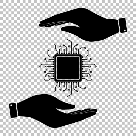 chipset: CPU Microprocesso. Save or protect symbol by hands.