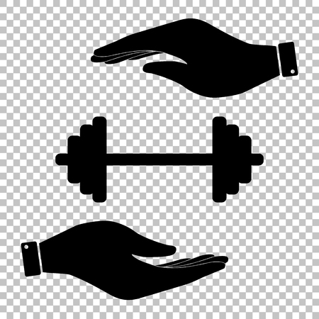 heavy load: Dumbbell weights sign. Save or protect symbol by hands. Illustration