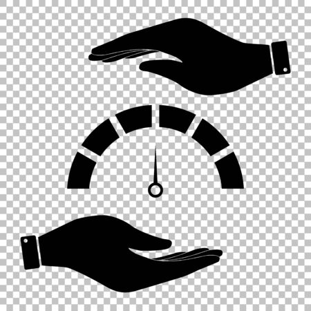 speedmeter: Speedmeter sign. Save or protect symbol by hands. Illustration
