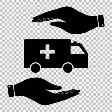 harm: Ambulance sign. Save or protect symbol by hands.