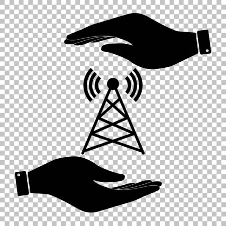 woman cellphone: Antenna sign. Save or protect symbol by hands. Illustration