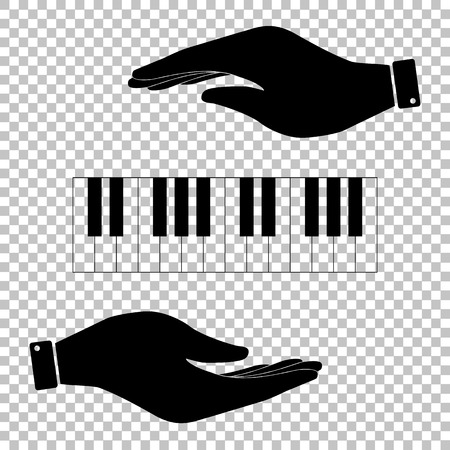 Piano Keyboard  sign. Save or protect symbol by hands.