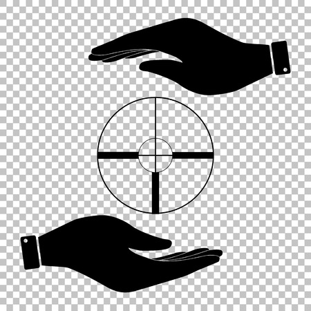 crosshair: Crosshair Target  sign. Save or protect symbol by hands.