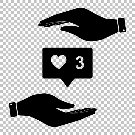 feedback link: Like and comment sign. Save or protect symbol by hands.
