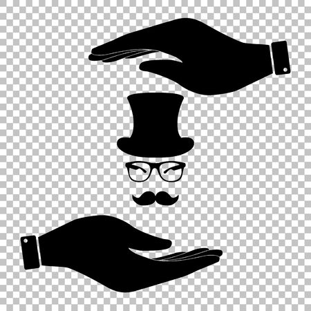 male face: Hipster style accessories design. Save or protect symbol by hands.