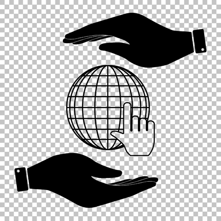 protect globe: Earth Globe with coursor. Save or protect symbol by hands. Illustration