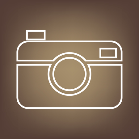 whim of fashion: Digital photo camera line icon on brown background. Vector