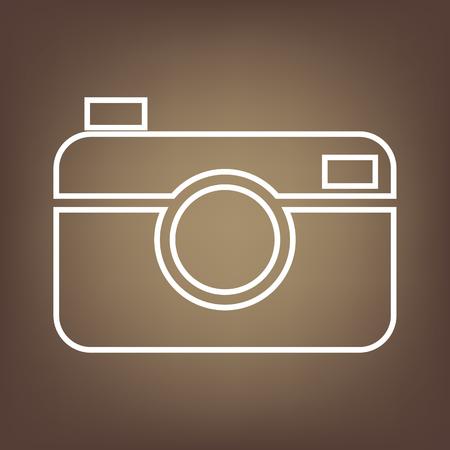 digital photo: Digital photo camera line icon on brown background. Vector