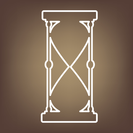 metering: Hourglass line icon on brown background. Vector